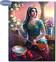 5D-DIY-diamond kit completo de pintura diosa iraní pegatinas de diamantes de imitación bordado en punto de cruz lienzo hecho a mano decoración de la pared mural diamante cuadrado sin marco -30x40cm