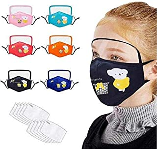 Gokeop 6Pcs Kids Face Cotton with Eyes Protection with 12Pcs Activated Carbon Filter Replaceable Filters Face Covering Health Suitable For Children (6pcs+12pcs)