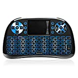 【RGB】 2.4GHz Mini Wireless Keyboard with Touchpad Mouse, Backlit Remote Keyboard, USB Rechargeable Multimedia Play Keyboard for Android TV Box, PC, IPTV, Support Linux, Windows