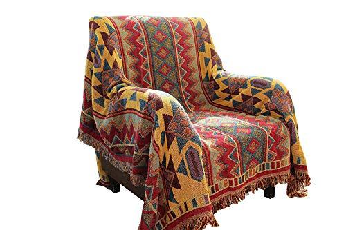 hnnsi Bohemian Baumwolle gewebte Decke/Überwurf mit Fransen, Handtuch Wende Sofa Couch Decke Überwurf für Bett-Stuhl, Home Office Decor Quasten Decke, baumwolle, multi, 70x86inch