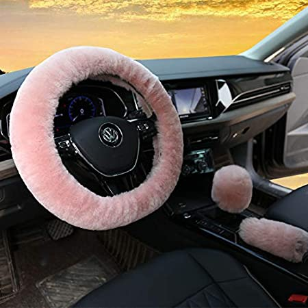 3Pcs Fur Car Winter Steering Wheel Cover White Black Tip Wool Furry Fluffy Thick