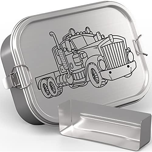 TAKWAY Edelstahl Brotdose Kinder mit Fächern 800ml | Auslaufsicher | Bento Box mit Unterteilung variabel | Jausenbox Brotbox Kindergarten Kita Schule (Truck)