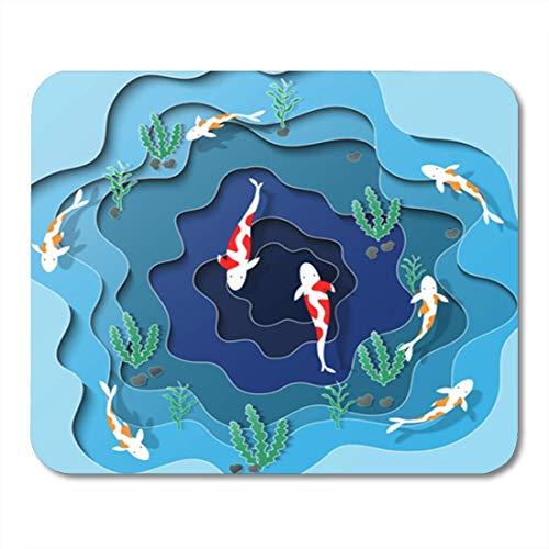 Gaming Mouse Pad Mist Fisch Schwimmen im Pool auf Draufsicht Schnitt Dekor Büro rutschfeste Gummi Backing Mousepad Mouse Mat