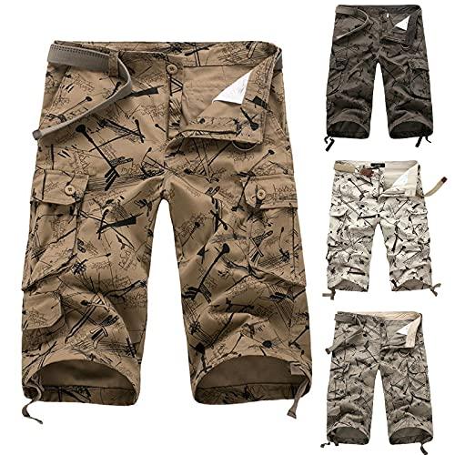 Alueeu Herren Shorts Sommer Baumwolle Herren Chino Shorts Regular Fit Gürtel Bermuda Kurze Hose Sommer Short Baumwolle riou4
