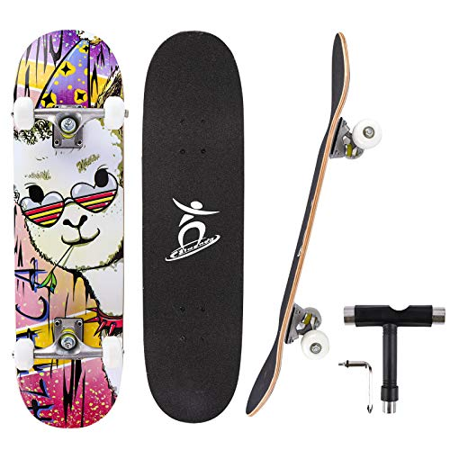 Photo of Colmanda Skateboards for Beginners, 31″ x 8″ Complete Standard Skateboard for Kid Teens Adults & Pro, 7 Layer Canadian Maple Double Kick Deck Concave Trick SkateBoard with T-Tool, Gift for Girl Boy