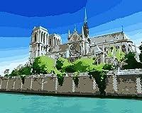 大人向けの数字による絵画キット大人向けのDIY絵画初心者向けブラシとアクリル絵の具を使用した40x50cmフレームなし-川沿いのノートルダム(フレームレス)