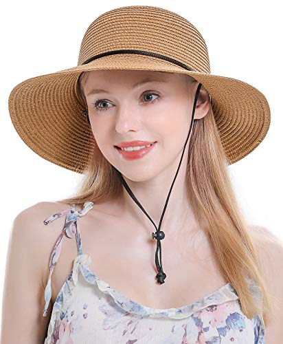 Womens Straw Hat Sun Hat for Women Beach Cap Summer Hats UV Protection UPF50+ (A-Khaki)