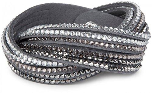 styleBREAKER weiches Strass Armband, eleganter Armschmuck mit Strassteinen, Wickelarmband, 6x1-Reihig, Damen 05040005, Farbe:Dunkelgrau/Silber-Hellgrau-Klar