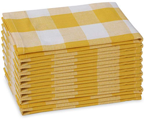 """Excellent Deals Cloth Napkins (12 Pack, Yellow/White) - 100% Cotton Dinner Napkin 20"""" x 20"""" - Durable Fabric Napkins - Banquets Napkins - Table Napkins Best for Home & Commercial Use."""