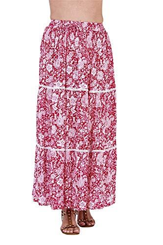 Undercover Lingerie Ltd Ladies Maxi Skirt S901 Red Paisley Print M