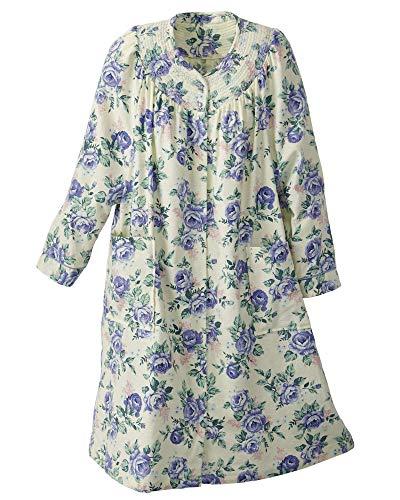 National Floral Flannel Duster, Blue Floral, Large