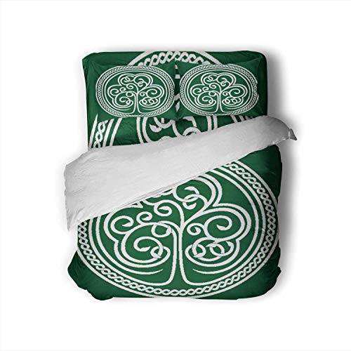 Tstyrea St.Patrick's Day.Stylized of a Shamrock on Dark Green - with Celtic Ornament,Full Size Cotton Sateen Sheet Set - 4 Piece - Supersoft Full
