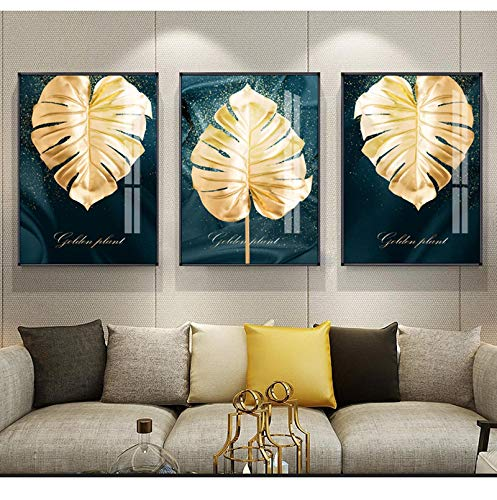 "Sungup Plant Wall Art Gold Plant Painting Leaf Poster Print Minimalist Canvas Painting Wall Art for Living Room Modern Decor No Frame 20""x28""(50x70cm)×3"