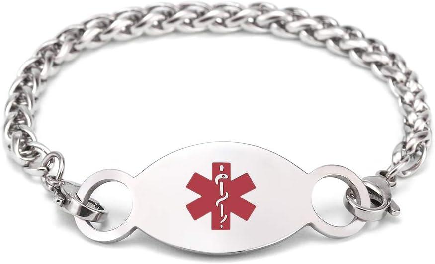 Free Engraving Medical Alert Bracelet Personalized Stainless Steel Emergency ID Bracelets for Boys and Girls Custom Seizure Bracelets