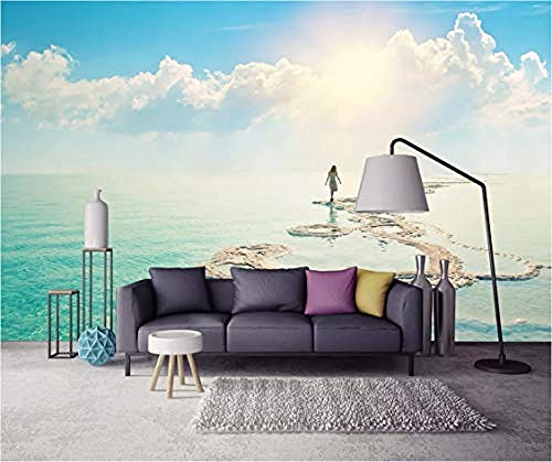 XHXI Creative Sunset Lakeside Wall Paper 3D Mural DIY Wall Decoration Modern Living Room Bedroom Wall Art Decal 3D Wallpaper Paste Living Room The Wall for Bedroom Mural border-250cm×170cm