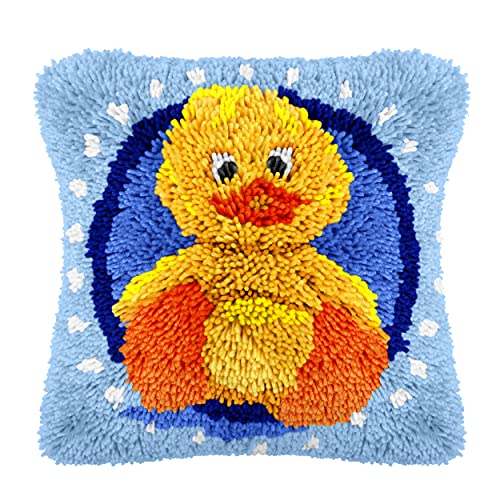 Yellow Duck Latch Hook Kits DIY Throw Pillow Cover Crochet Crafts for Beginner Kids and Adults Handmade Crafts Home Decoration Festival Birthday Gift, 17 x17 Inch