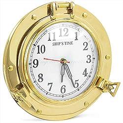 Nautical Porthole Clock Solid Antique Brass Ships 9 Inch Maritime Clocks