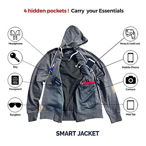Unisex Travel Hoodie with 4 Secret Hidden Pockets, Smart Jacket for 100% Pickpocket and Loss Proof Holiday Tour (Heather-Gray, Extra Large)