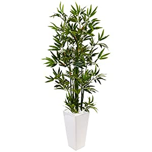 Nearly Natural 4.5' Bamboo Artificial Tree in White Tower Planter, Green