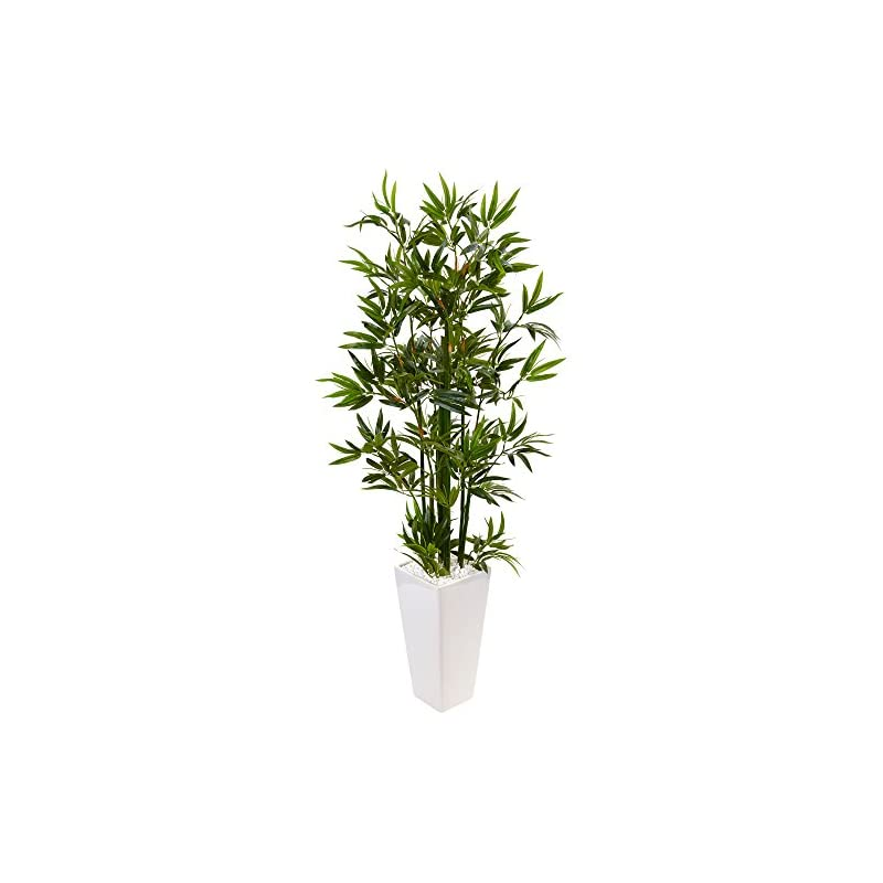 silk flower arrangements nearly natural 4.5' bamboo artificial tree in white tower planter, green
