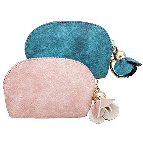 2pcs Portamonete Piccolo Pelle Carina Sacchetto chiave per Donna e Ragazze - Borsellino Portachiavi (Rosa e verde)