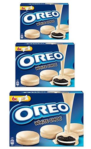 OREO WHITE CHOC Kakao Cookie mit Vanille mit weißer Schokolade (3 x 246g) Füllung umhüllt oreo white choc