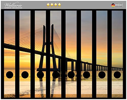 Wallario Ordnerrücken Sticker Vasco da Gama Brücke in Premiumqualität - Größe 8 x 3,5 x 30 cm, passend für 8 schmale Ordnerrücken