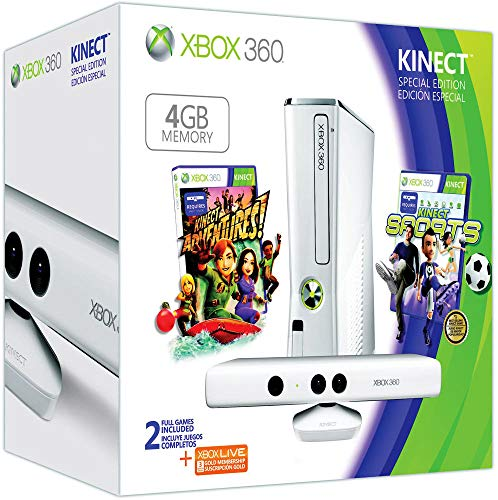 Console Xbox 360 4 Go + Kinect blanche + Sports + Kinect adventures ! + Carte Xbox Live 3 mois