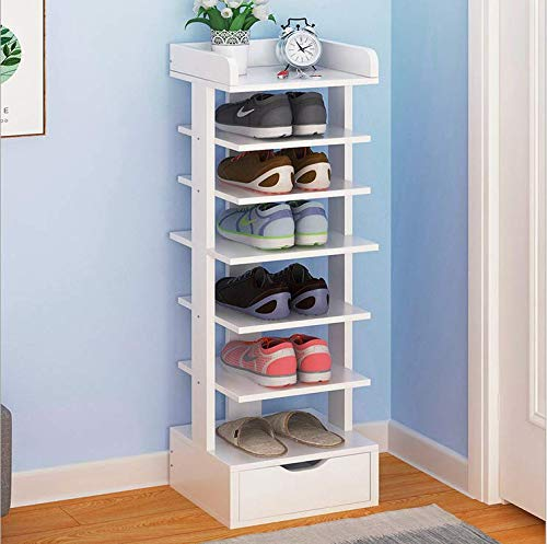 White Wooden 5 Tier Slim Narrow Tall Shoe Rack Storage Free Stand Shoe Shelves Organiser with Drawer for Hallway Space Saving Bedroom Small (White 5 Tier Shoe Storage Rack)