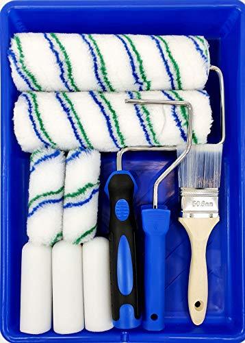 All-in-One-Farbroller-Set, mit Ablage, Allzweckfarben-Set 1 x Farbwanne – 2 x Rollrahmen – 2 x 22,9 cm Roller – 5 x 10,2 cm Roller – 1 x 5,1 cm Pinsel
