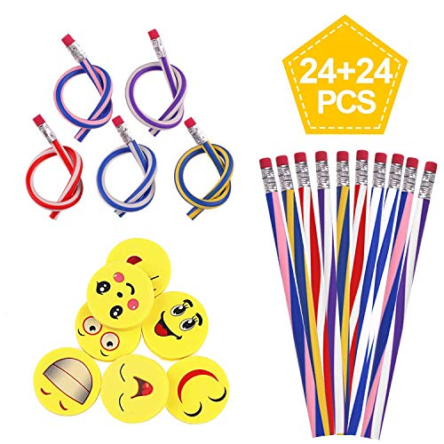 Soneer for Kids Party Bag Fillers, Funny Gift 48pcs soft Flexible Magic Bendy Pencils,Emoji Smiley Rubbers Erasers,Toys School Stationary Equipment, Multicolored