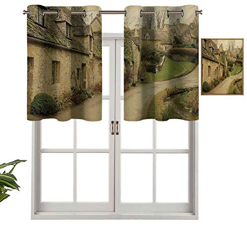 Hiiiman Small Kitchen Window Curtains Valances British Town with Stone Houses Retro England Countryside Buildings Image Print, Set of 1, 54'x18' for Kitchen Window Bathroom and Cafe