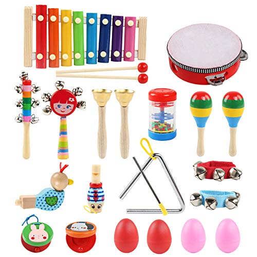 LinStyle Musical Instruments, 24Pcs 13 Types Wooden Musical Toys Set Percussion Instrument Toys Tambourine Xylophone Early Learning Musical Toys Set for Boys Girls with Carrying Bag