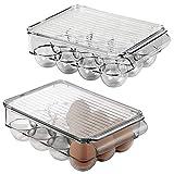 mDesign Juego de 2 cajas para huevos de plástico para la nevera – Envase para...