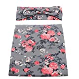 Infant Floral Swaddle Wrap with Headbands Hats Value Set Newborn Receiving Blanket Photography Props 35X35inch