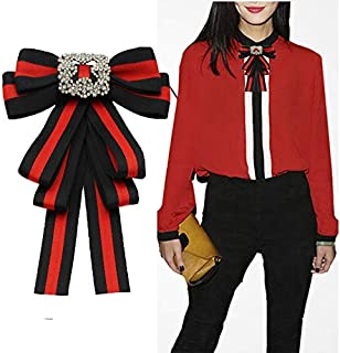 Topaz Ladies Girl Bowknot Bow tie Suit Shirt tie pins Necktie pin Brooch pre-Tied Bow (black/SR138)