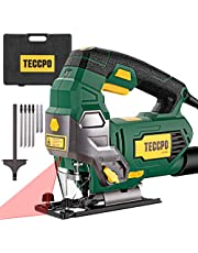 TECCPO 6.5Amp Jigsaw, 3000 SPM Jig saw with Laser, 6 Variable Speed, Tool-free Switching Angle(±45°), 6 Blades, Carrying Case, Scale Ruler, Pure Copper Motor -TAJS01P
