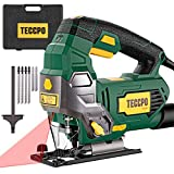 TECCPO 6.5Amp Jigsaw, 3000 SPM Jig saw with Laser, 6 Variable Speed, Tool-free Switching Angle(-45°-45°), 6 Blades, Carrying Case, Scale Ruler, Pure Copper Motor -TAJS01P