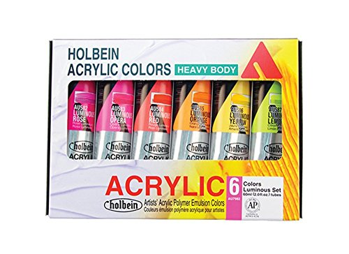 Holbein Heavy Body Artist Acrylic Luminous Set of 6, 60ml Paints