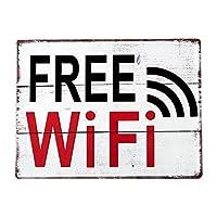 ブリキ看板 サインボード ビンテージ Wi-Fi プレート ホワイト 横向き レトロ アメリカン雑貨 メタルプレート アンティーク 店舗用
