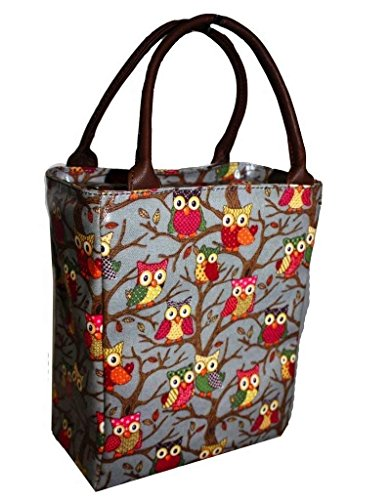Lunch Tote Bag for Kids/Women/Men Insulated iN Travel Durable Oil Cloth Thermal Lunch Cooler in Owl Pattern