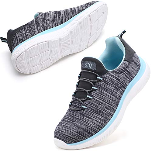 STQ Fashion Sneakers for Women Ultra Lightweight Athletic Running Shoes with Arch Support Slip On Fitness for Outdoor Grey Aque 9.5