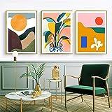VVSUN 3 Piezas Moderno Multicolor Abstracto geométrico Pared Arte Lienzo Pintura Imagen Sol Carteles galería niños Cocina...