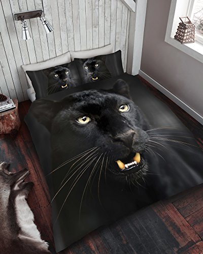 Gaveno Cavailia 3D Animal Printed Duvet Covers Quilt Covers Reversible Bedding Sets with Pillowcases (3D Black Panther, Double Duvet Set)
