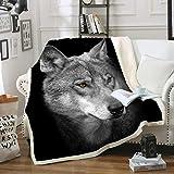 Black Wolf Blanket Comfort WarmthSoftCozyAirConditioningMachine Wash BlackandWhite RoseSkullSherpaFleeceBlanket(Throw60'x80') (Black Wolf)