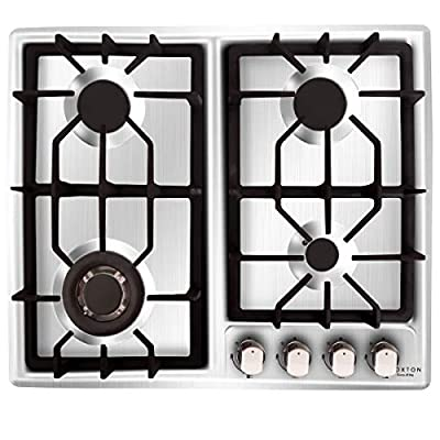 NOXTON Gas Cooktop Hob Gas Stove Top 4 Sealed Burners for LPG Natural Gas Stainless Steel with FFD Thermocouple Protection Easy Cleaning with Plug?Comes LPG Gas Kit?for 110V~240V