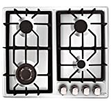 NOXTON Gas Cooktop Hob Gas Stove Top 4 Sealed Burners for LPG Natural Gas Stainless Steel with FFD Thermocouple Protection Easy Cleaning with Plug(Comes LPG Gas Kit)for 110V~240V