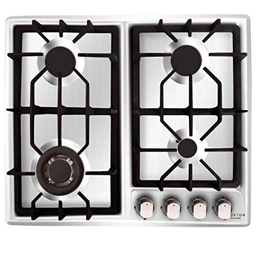 NOXTON Gas Cooktop Hob Gas Stove Top 4 Sealed Burners for LPG Natural Gas Stainless Steel with FFD...