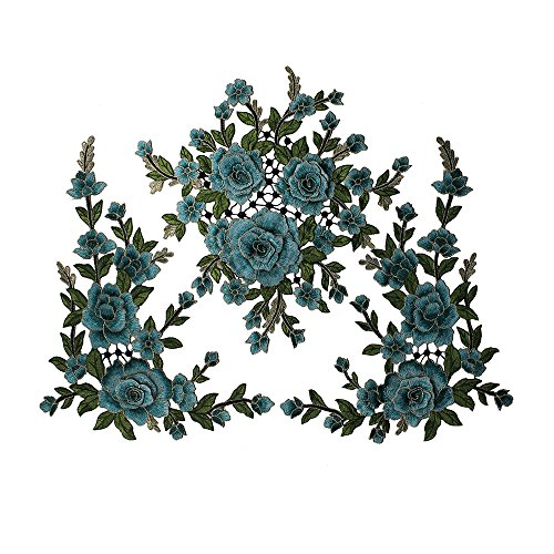 3D Flower Embroidery Fabric Patches Lace Applique Embellishment Sew on Motif Venise Trimming Craft Sewing Supplies T2612 (Turquoise)