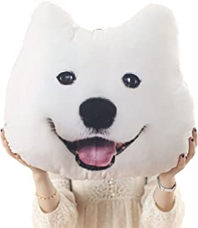 Eyxia 3D Printed Throw Pillow Lifelike Animal Funny Dog Head Cosplay Car Seat Lumbar Cushion Plush Toy Cute Gift for Home,Bed,Sofa Chair,Samoyed